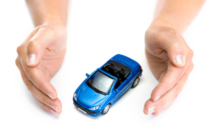 woman hands holding blue car isolated on white background